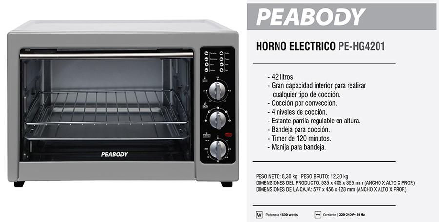 horno electrico peabody 42 lts pe hg4201 la mejor calidad