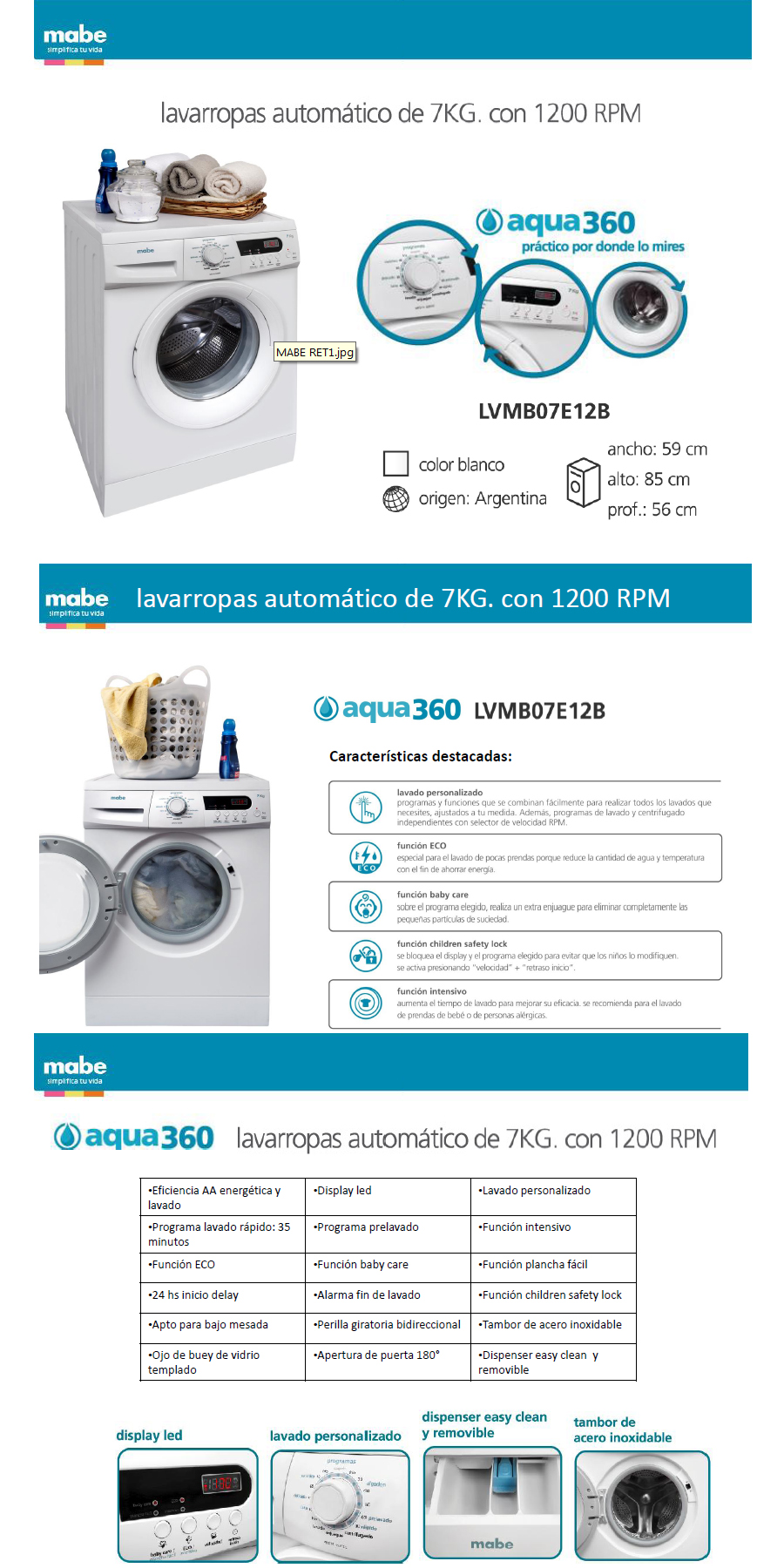 Lavarropas Mabe 7kg AQUA 360