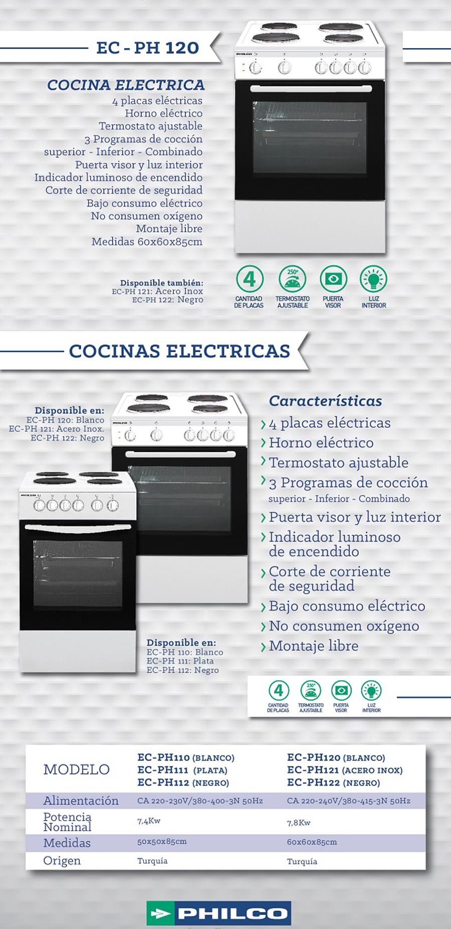 Cocina philco electrica 60cm ec ph120 blancas horno unica for Cocina electrica consumo
