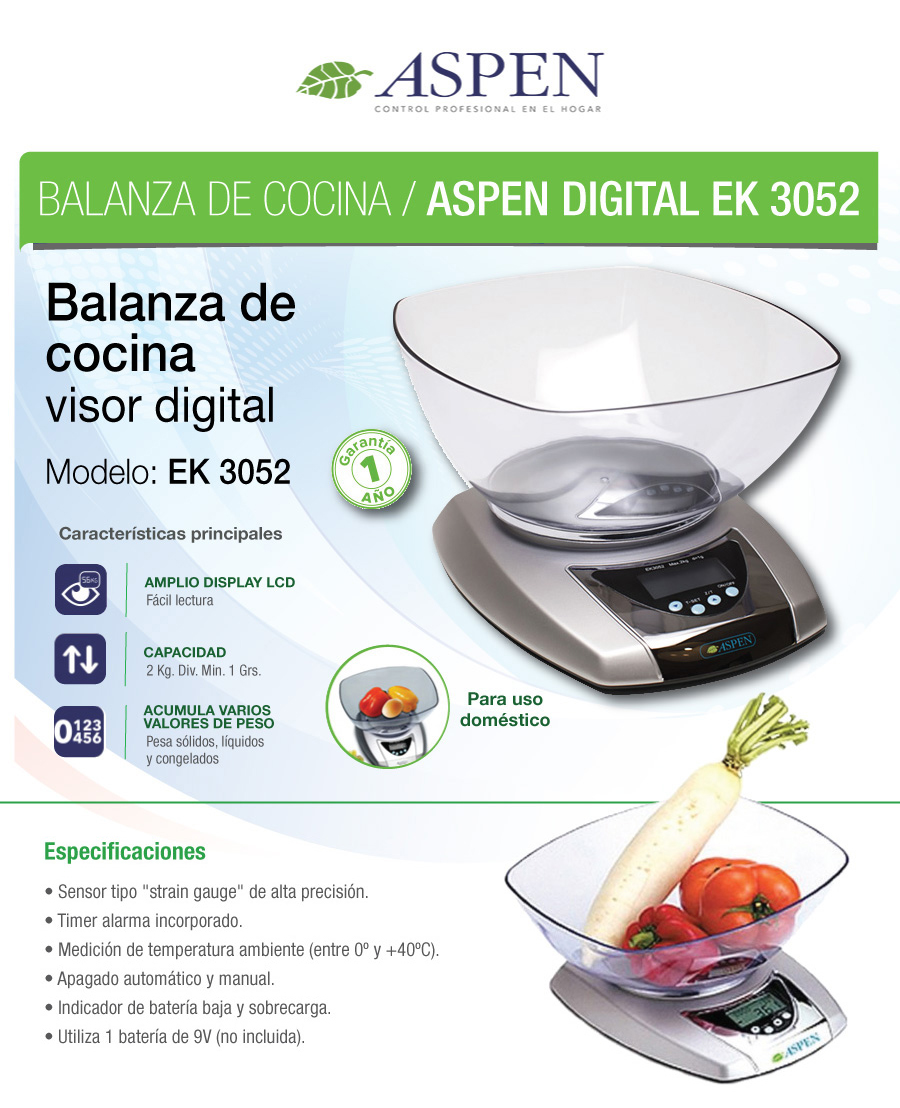 Balanza digital de cocina aspen ek3052 2kg liquidos timer - Balanza cocina digital ...