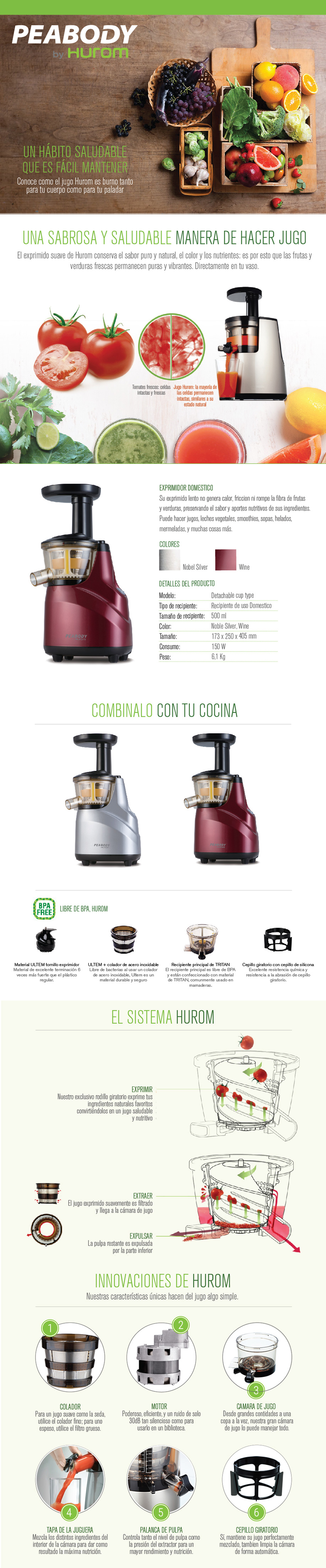 Juguera Slow Juicer Pe-hsj Peabody By Hurom Domestica promo $ 7649.1 - Ansila store